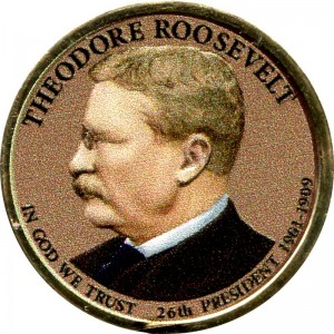 1 dollar 2013 USA, 26th President Theodore Roosevelt, colored