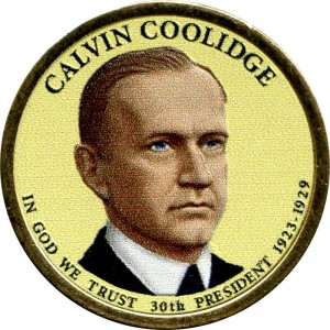 1 dollar 2014 USA, 30th President Calvin Coolidge colored