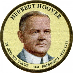 1 dollar 2014 USA, 31th President Herbert Hoover colored
