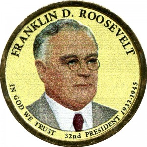 1 dollar 2014 USA, 32th President Franklin Delano Roosevelt colored