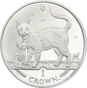 1 crown 2002 Isle of Man Bengal Cat And Kitten