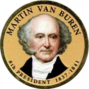 1 dollar 2008 USA, 8th president Martin Van Buren colored