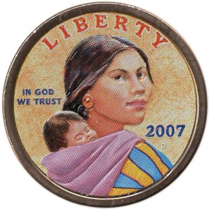 1 dollar 2007 USA Native American Sacagawea, colorized