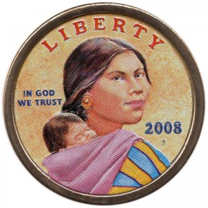 1 dollar 2008 USA Native American Sacagawea, colorized