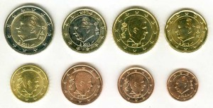Euro coin set Belgium mixed years (8 coins)