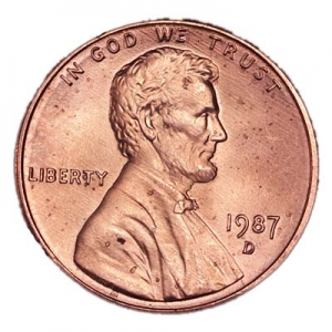 1 cent 1987 Lincoln USA, mint D