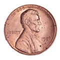 1 cent 1987 Lincoln USA, mint P