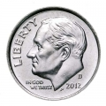 One dime 10 cents 2012 US Roosevelt, mint D