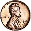 1 цент 1961 США Линкольн D, UNC