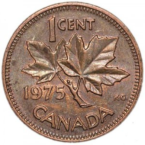 1 cent 1975 Canada, from circulation