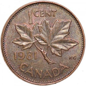 1 cent 1981 Canada, from circulation
