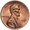 1 цент 1991 США P, UNC