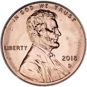 1 cent 2018 USA Shield, mint mark D
