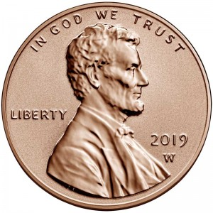 1 cent 2019 USA, Shield mint mark W Reverse Proof