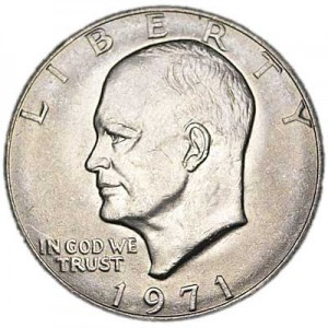 1 dollar 1971 USA Eisenhower, mint mark P