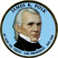1 dollar 2009 USA, 11th president James K. Polk colored