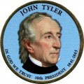 1 dollar 2009 USA, 10th president John Tyler colored