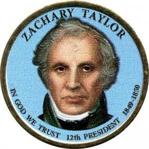 1 dollar 2009 USA, 12th president Zachary Taylor colored