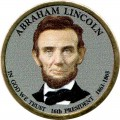 1 dollar 2010 USA, 16th president Abraham Lincoln colored