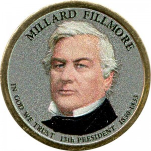 1 dollar 2010 USA, 13th president Millard Fillmore colored