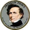 1 dollar 2010 USA, 14th president Franklin Pierce colored