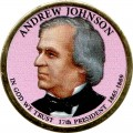 1 dollar 2011 USA, 17th president Andrew Johnson (colorized)