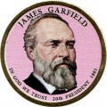 1 dollar 2011 USA, 20th president James Garfield colored