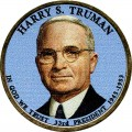 1 dollar 2015 USA, 33th President Harry S. Truman (colorized)