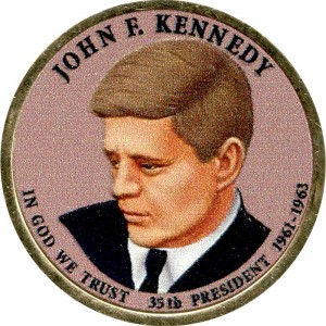1 dollar 2015 USA, 35th President John F. Kennedy (colorized)