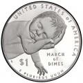 1 доллар 2015 США Национальный фонд детского паралича, серебро Proof