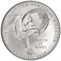 1 доллар 2015 США Национальный фонд детского паралича, серебро UNC