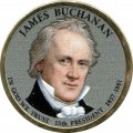 1 dollar 2010 USA, 15th president James Buchanan colored