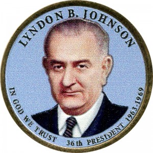 1 dollar 2015 USA, 36th President Lyndon B. Johnson (colorized)