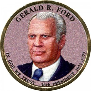 1 dollar 2016 USA, 38th President Gerald R. Ford (colorized)
