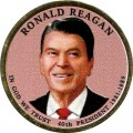 1 dollar 2016 USA, 40th President Ronald Reagan (colorized)