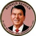 1 доллар 2016 США, 40-й президент Рональд Рейган (цветная)