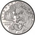 1 доллар 2016 США, Марк Твен, серебро Proof