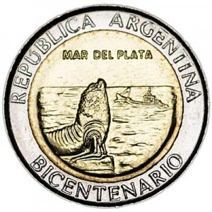 1 peso 2010, Argentina, May Revolution, Mar del Plata