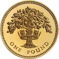 1 фунт 1987 Дуб и королевская диадема Англии из обращения