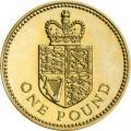 1 фунт 1988 Великобритания Щит королевского герба, символизирующий Соединенное Королевство