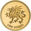 1 фунт 2000 Англия Дракон символизирующий Уэльс из обращения
