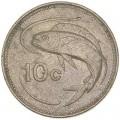 10 центов 1986 Мальта Рыба, из обращения