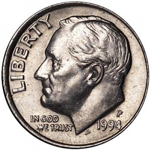 10 cents One dime 1994 USA Roosevelt, mint P