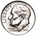 One dime 10 cents 2010 US Roosevelt, mint D