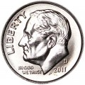 One dime 10 cents 2011 US Roosevelt, mint D