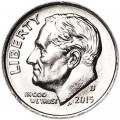 One dime 10 cents 2015 US Roosevelt, mint D