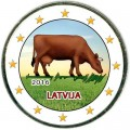 2 Euro 2016 Latvia, Cow (colorized)
