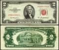 2 доллара 1953 США (красная печать) банкнота, из обращения VG