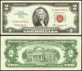 2 доллара 1963 США с красной печатью, банкнота, из обращения VF