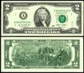 2 доллара 2009 США (A), банкнота, хорошее качество XF